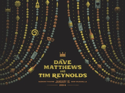 Dave Matthews & Tim Reynolds New Orleans Poster dkng vector beads dan kuhlken nathan goldman mardi gras new orleans dave matthews tim reynolds