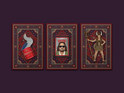 The Big Lebowski Enamel Pins rug enamel pin pin viking maude the dude big lebowski the big lebowski illustration dkng studios vector dkng nathan goldman dan kuhlken