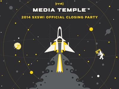 Media Temple SXSWi Poster dkng vector space geometric rocket stars planet jupiter mic astronaut sxsw