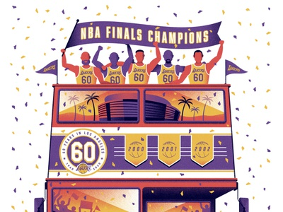 L.A. Lakers NBA Champions Poster double decker bus double decker bus los angeles lakers texture poster dkng studios dkng vector nathan goldman dan kuhlken