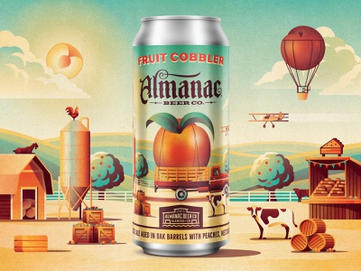 Almanac Beer Co. Fruit Cobbler in a Can packaging design beer can design beer can almanac cow beer pie cobbler nectarine peach farmers market truck farm illustration vector dkng nathan goldman dan kuhlken dkng studios