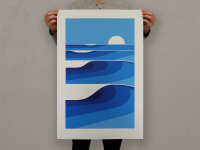 Wave Two First Edition art print ocean minimalist minimal sunset beach waves wave illustration silkscreen screen print geometric poster dkng studios vector dkng nathan goldman dan kuhlken