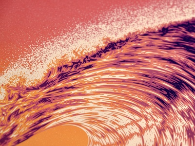 Wave One (2nd Edition) surf ocean water sunset waves wave texture illustration silkscreen screen print poster dkng studios vector dkng nathan goldman dan kuhlken