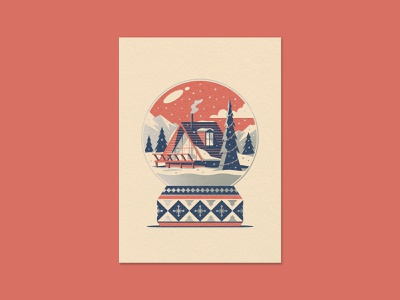 Mountain Home Greeting Card mountains pine trees pine tree snow globe snow winter cabin a-frame illustration geometric dkng studios vector dkng nathan goldman dan kuhlken
