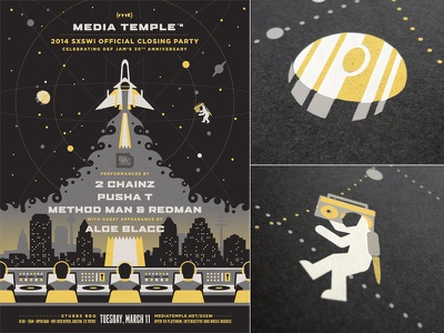 Media Temple SXSWi Poster dkng vector space sxsw astronaut spaceship planet jupiter city launch dan kuhlken nathan goldman