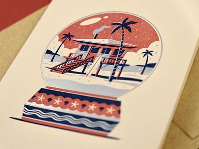 Beach Home Greeting Card stilts beach house palm trees beach snow globe design texture illustration geometric dkng studios vector dkng nathan goldman dan kuhlken