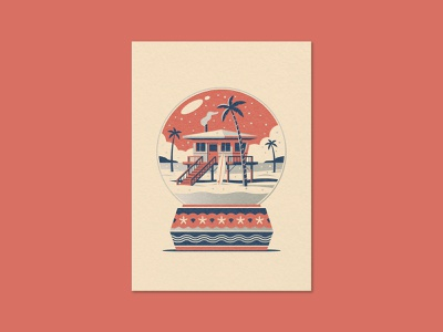Beach Home Greeting Card stilts beach house palm trees beach snow globe design texture illustration geometric dkng studios vector dkng nathan goldman dan kuhlken