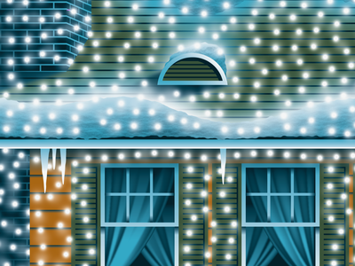 Mystery Project 102 brick chimney roof window string lights christmas lights christmas snow winter lights house illustration silkscreen screen print poster dkng studios vector dkng nathan goldman dan kuhlken