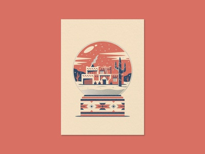 Desert Home Greeting Card southwestern pueblo adobe letterpress snow globe winter cactus home illustration geometric dkng studios vector dkng nathan goldman dan kuhlken