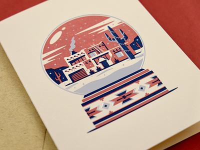 Desert Home Greeting Card southwestern pueblo adobe letterpress snow globe winter cactus home illustration geometric dkng studios vector dkng nathan goldman dan kuhlken