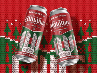 Almanac Beer Co. Holiday Edition Love IPA hazy ipa ugly sweater sweater holiday christmas beer can beer packaging beer almanac love dkng nathan goldman dan kuhlken
