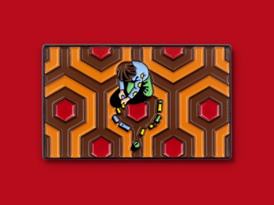 The Shining Enamel Pins mondo enamel pin pink stanley kubrick danny the shining carpet maze hedge maze dkng nathan goldman dan kuhlken
