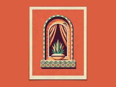 Ventana Art Print Series & Succulent Pin Pack window succulent cactus texture silkscreen screen print geometric poster dkng studios vector dkng nathan goldman dan kuhlken