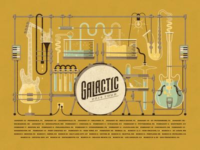 Galactic // 2014 Tour Poster drums chemistry vector lab bass guitar trumpet saxophone galactic dan kuhlken nathan goldman