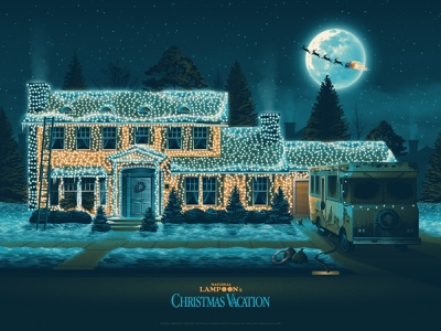 National Lampoon's Christmas Vacation Posters national lampoons christmas vacation christmas illustration silkscreen screen print poster dkng studios vector dkng nathan goldman dan kuhlken