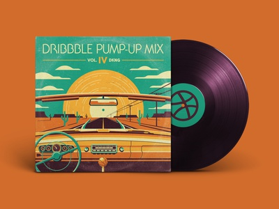 Dribble Pump-Up Mix (Vo. IV) clouds mesa cactus sun roadtrip desert pump up mix dribbble playlist vinyl texture illustration geometric dkng studios vector dkng nathan goldman dan kuhlken