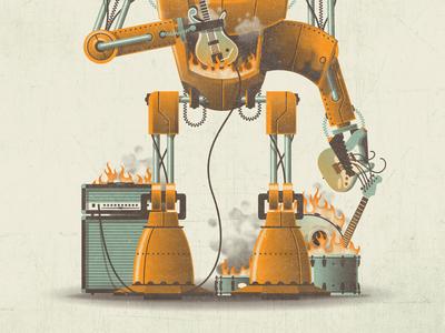 Mystery Project 51 dkng vector geometric robot smoke fire amp guitar bass drums dan kuhlken nathan goldman