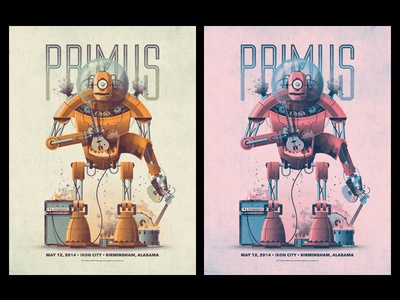 Primus // Birmingham, Alabama Poster dkng vector geometric robot primus guitar bass drums alabama birmingham dan kuhlken nathan goldman