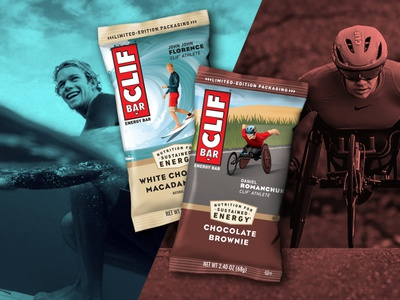 Clif Bar Athlete Series packaging daniel romanchuk john john florence wheelchair racer athlete clif bar surfer surf illustration dkng studios vector dkng nathan goldman dan kuhlken