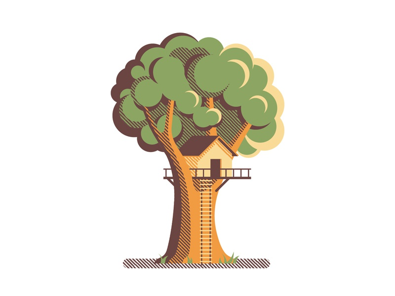Mystery Project 55 dkng vector geometric tree treehouse house dan kuhlken nathan goldman tree house