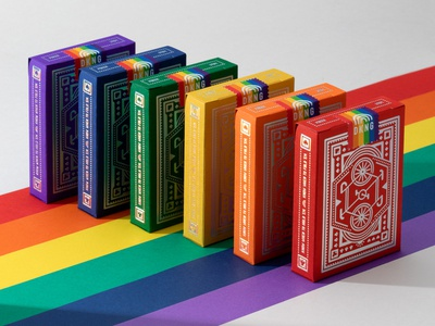 DKNG 'Rainbow Wheel' Playing Cards bicycle clover club diamond spade heart lgbt pride rainbow king ace queen poker playing cards nathan goldman dan kuhlken