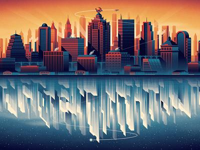 Superman: The Movie - Soundtrack Vinyl Packaging daily planet mondo packaging record vinyl superman metropolis city illustration design geometric dkng studios vector dkng nathan goldman dan kuhlken