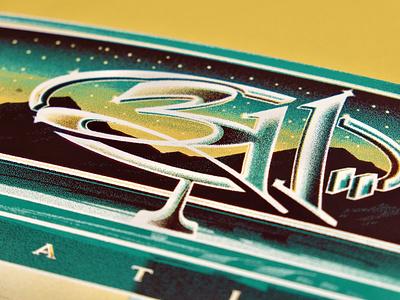311 Sterling Heights, MI Poster silkscreen screenprint illustration dkng studios poster vector ufo space detroit dkng nathan goldman dan kuhlken chrome car 311 graphic design