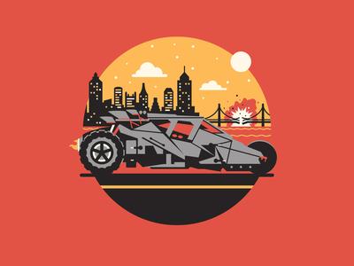 Let the Games Begin dkng vector geometric batman batmobile car city icon bridge tumbler dan kuhlken nathan goldman