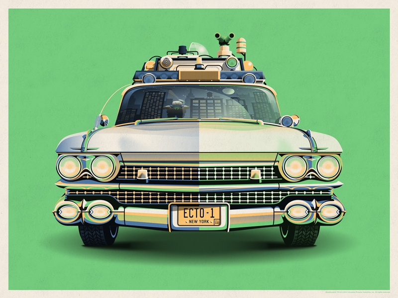 Ghostbusters 30th Anniversary Ecto-1 (Slimer Green) dkng vector car ecto-1 ghostbusters dan kuhlken nathan goldman
