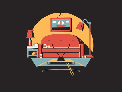 D'oh! dkng vector icon couch simpsons tv lamp dan kuhlken nathan goldman living room