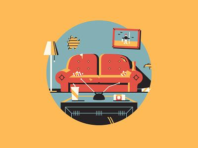 Uh... huh huh huh dkng vector icon couch tv lamp dan kuhlken nathan goldman beavis and butthead living room
