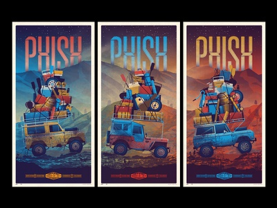 Phish // Commerce City, CO Triptych dkng vector car 4x4 phish poster triptych colorado offroad dan kuhlken nathan goldman