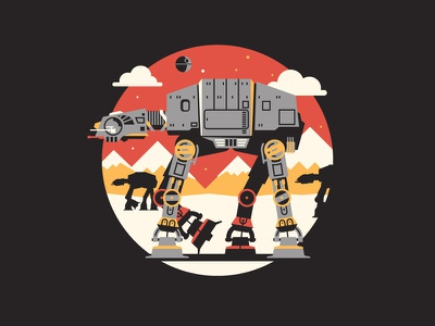 All Terrain Armored Transport dkng vector icon starwars mountains clouds deathstar snow dan kuhlken nathan goldman at-at