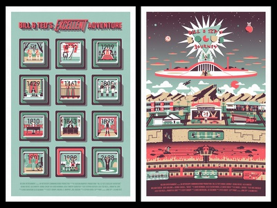 Bill & Ted Double Feature dkng vector hell heaven poster mondo dan kuhlken nathan goldman bill and ted key pad