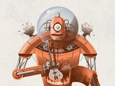 Robot Art Print dkng vector texture robot bass guitar fire poster print dan kuhlken nathan goldman
