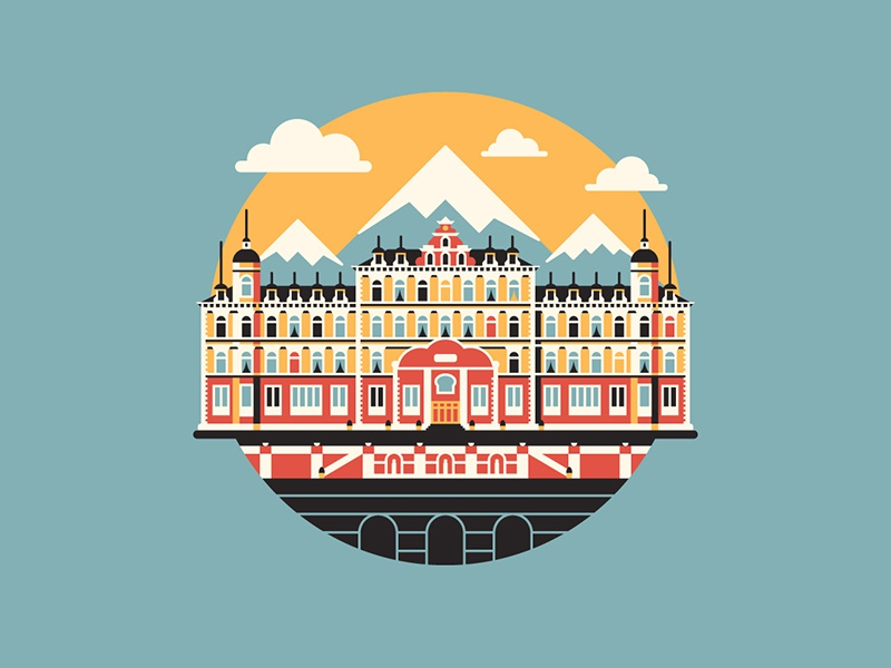 Keep Your Hands Off My Lobby Boy! dkng vector icon mountains clouds hotel dan kuhlken nathan goldman wes anderson grand budapest hotel