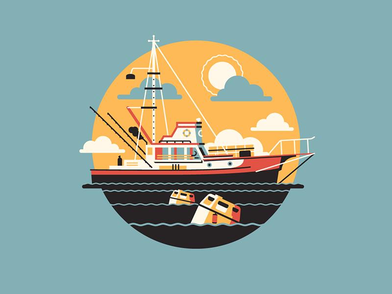 You're Gonna Need a Bigger Boat dkng vector icon boat jaws orca barrels ocean dan kuhlken nathan goldman