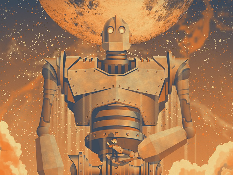 The Iron Giant Poster dkng vector mondo robot space moon night clouds dan kuhlken nathan goldman iron giant the iron giant