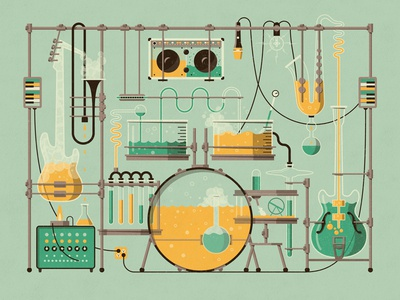 The Lab Art Print dkng lab laboratory instruments drums chemistry music guitar bass saxophone dan kuhlken nathan goldman