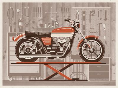 The Garage Art Print dkng garage motorcycle harley chopper tools bike lift wheels amp dan kuhlken nathan goldman