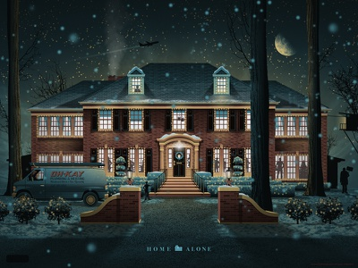Home Alone Mondo Poster dkng poster print mondo christmas house night dan kuhlken nathan goldman home alone