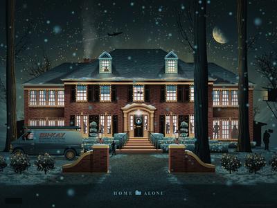 Home Alone Mondo Poster dkng poster print mondo christmas house night dan kuhlken nathan goldman home alone