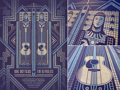 Dave Matthews & Tim Reynolds Oakland Poster dkng guitar oakland bridge dan kuhlken nathan goldman art deco dave matthews