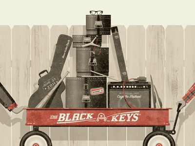 The Black Keys dkng poster brown geometric amp red fence hand wagon cymbals texture bat dan kuhlken nathan goldman screen print black keys