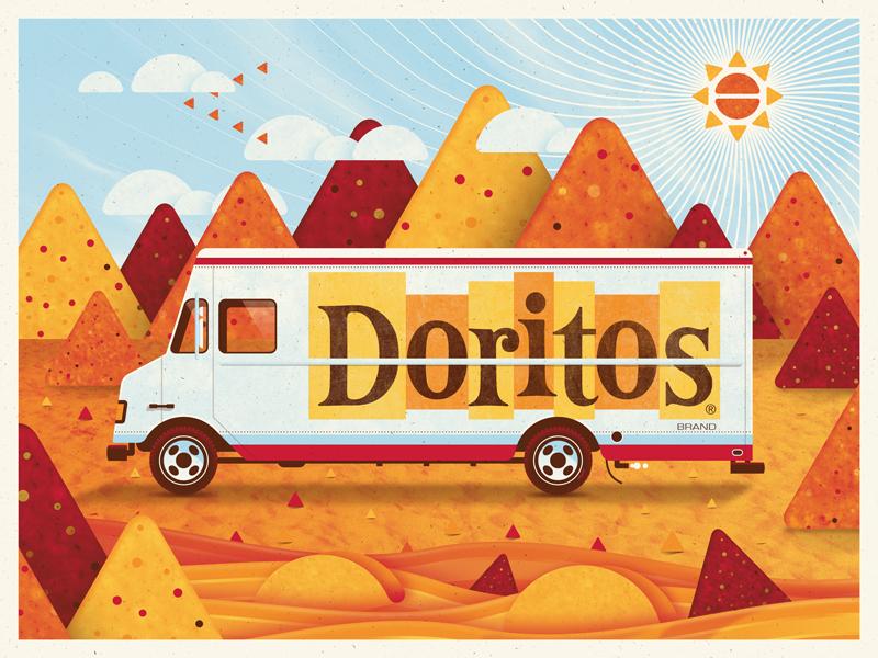Doritos Art Print dkng vector truck doritos sun clouds chips cheese nachos dan kuhlken nathan goldman
