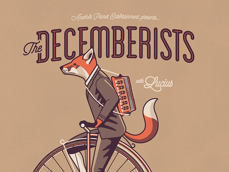 The Decemberists Poster the decemberists penny farthing nathan goldman dan kuhlken suit poster accordian bicycle bike fox dkng