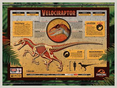 Jurassic Park Mondo Poster fern jurassic park nathan goldman dan kuhlken sign infographic skeleton velociraptor dinosaur texture vector dkng