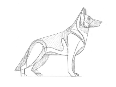 Mystery Project 70.3 german shepherd nathan goldman dan kuhlken sketch pencil geometric dog dkng