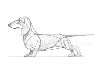 Mystery Project 70.4 hot dog wiener dog dachshund nathan goldman dan kuhlken guidelines sketch pencil geometric dog dkng