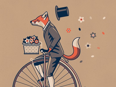 Penny Farthing top hat penny farthing nathan goldman dan kuhlken suit basket flowers bicycle bike fox vector dkng